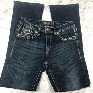 Grace in LA Dark Wash Bling Jeans Size 27